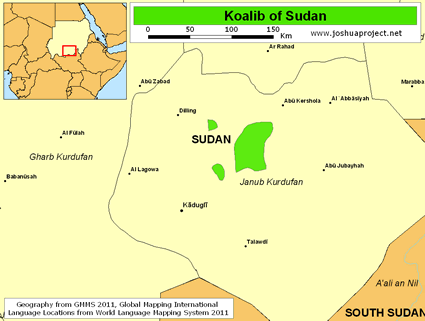 Koalib in Sudan map