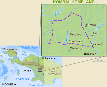 Kombai in Indonesia map