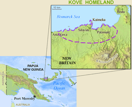 Kove in Papua New Guinea map