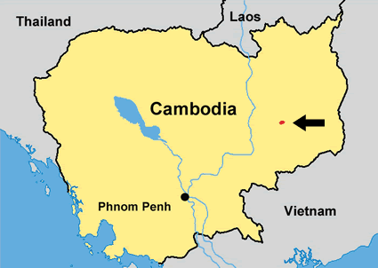 Kraol in Cambodia map