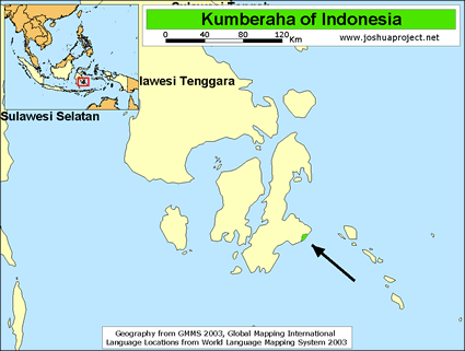 Kumberaha in Indonesia map