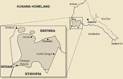 Kunama in Ethiopia map