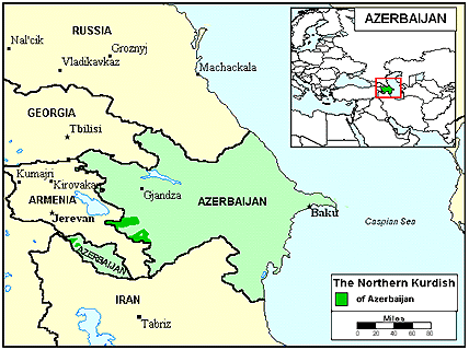 Kurd, Kurmanji in Azerbaijan map