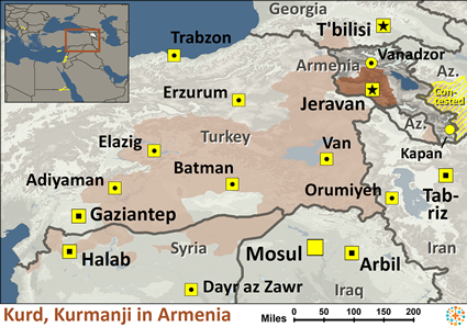 Kurd, Kurmanji in Armenia map