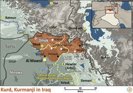 Kurd, Kurmanji in Iraq map