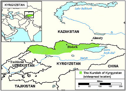 Kurd, Kurmanji in Kyrgyzstan map
