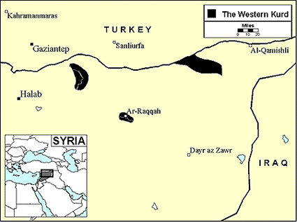 Kurd, Kurmanji in Syria map
