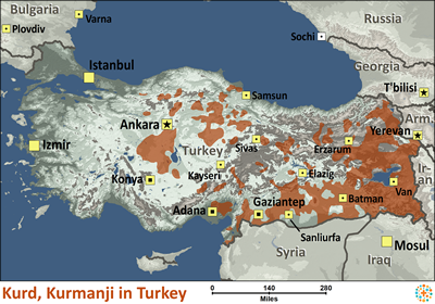 Kurd, Kurmanji in Turkey map