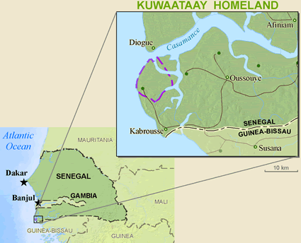 Jola-Kwatay in Senegal map