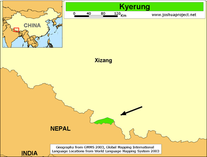 Kyerung in China map