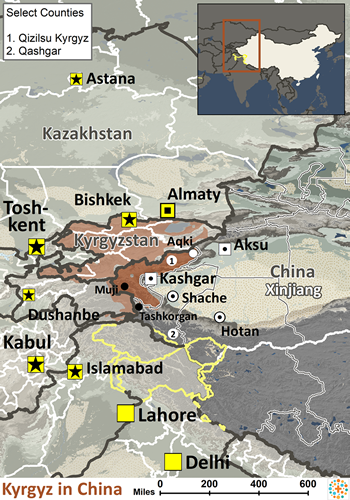 Kyrgyz in China map