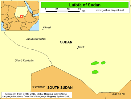Lafofa in Sudan map