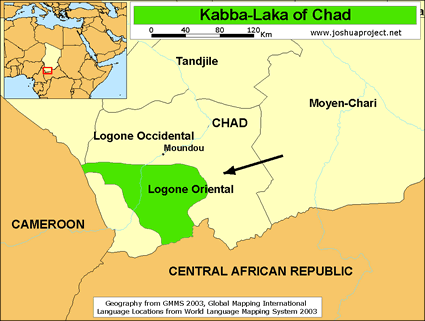 Kabba-Laka in Chad map