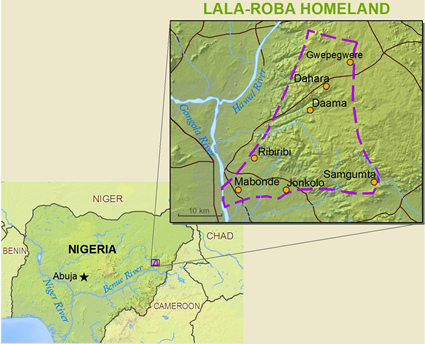 Lala-Roba, Gworam in Nigeria map