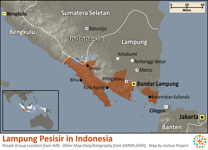 Lampung Pesisir in Indonesia map
