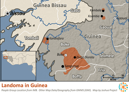 Landoma in Guinea map