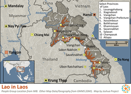Lao in Laos map