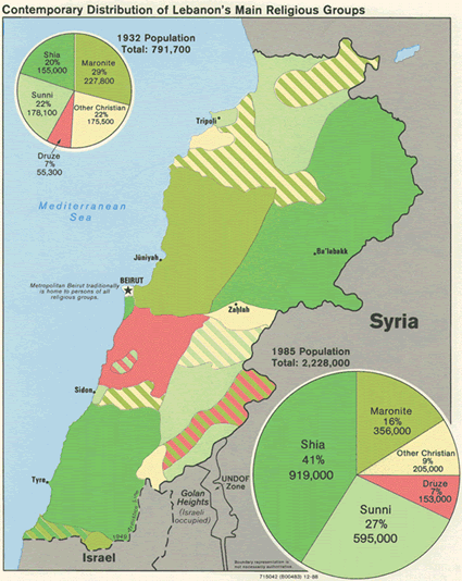Arab, Lebanese in Lebanon map