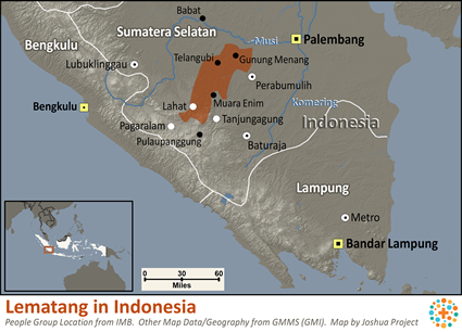 Lematang in Indonesia map