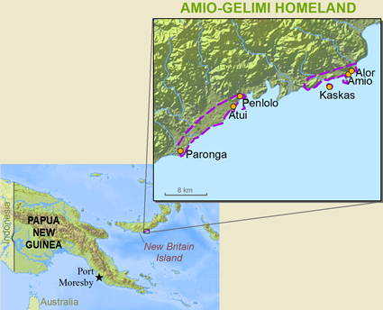 Lesing in Papua New Guinea map