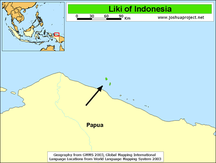 Liki in Indonesia map