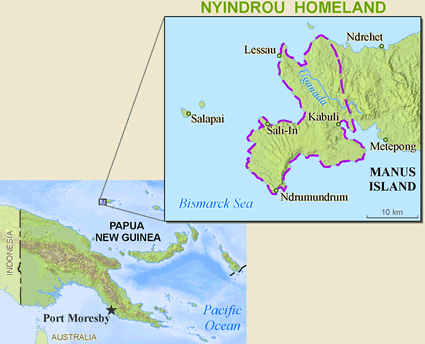 Lindrou, Nyindrou in Papua New Guinea map