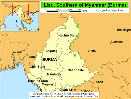 Lisu in Myanmar (Burma) map