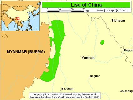 Lisu in China map