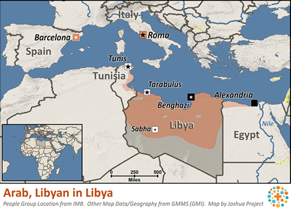 Arab, Libyan in Libya map