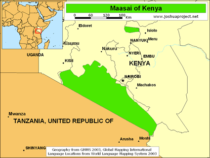 Maasai in Kenya map