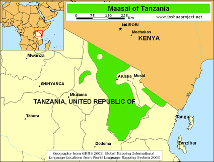 Maasai in Tanzania map