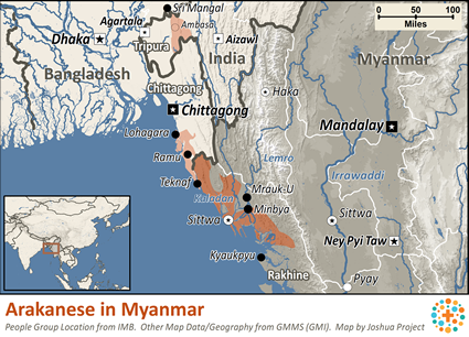 Rakhine in Myanmar (Burma) map
