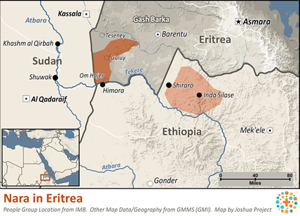 Nara, Nialetic in Eritrea map