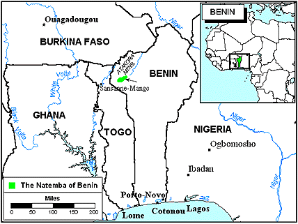 Natemba in Benin map