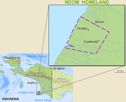 Ndom in Indonesia map