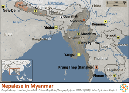 Nepali, general in Myanmar (Burma) map