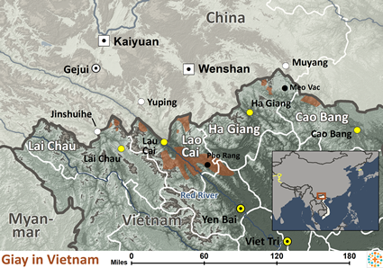Giay in Vietnam map