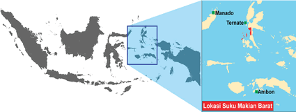 Makian Barat in Indonesia map