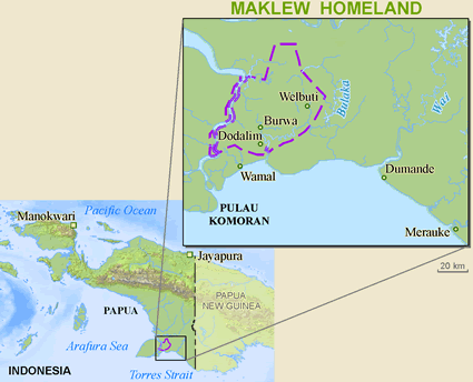 Maklew in Indonesia map