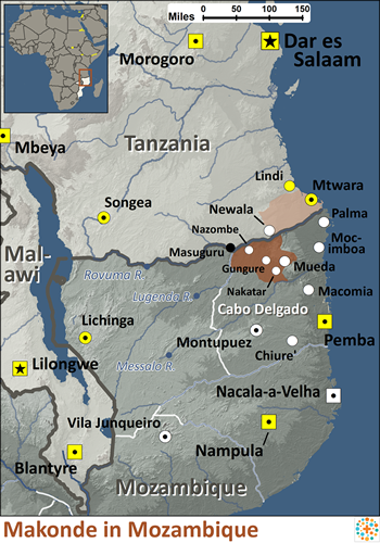 Makonde in Mozambique map