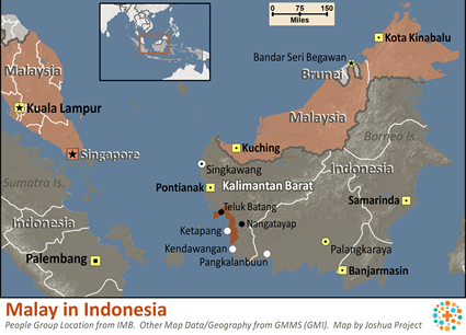 Malay in Indonesia map