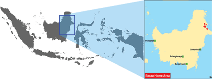 Berau in Indonesia map