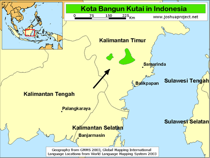 Kota Bangun Kutai in Indonesia map