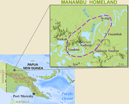 Manambu in Papua New Guinea map