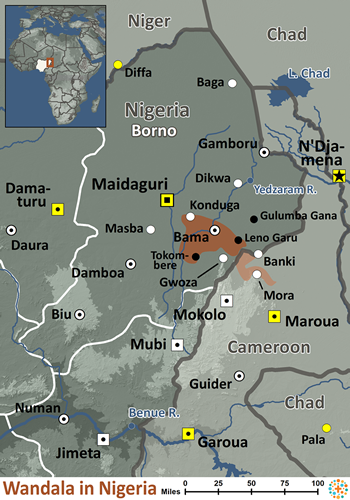 Mandara, Wandala in Nigeria map
