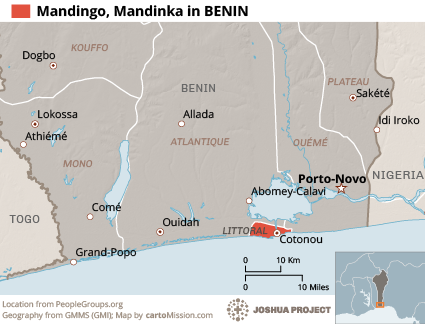 Mandingo, Mandinka in Benin map