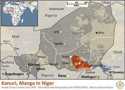 Kanuri, Manga in Niger map
