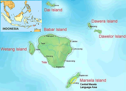Masela, Central in Indonesia map