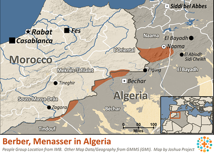 Berber, Menasser in Algeria map