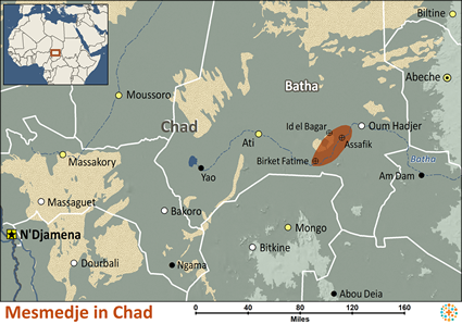 Mesmedje in Chad map